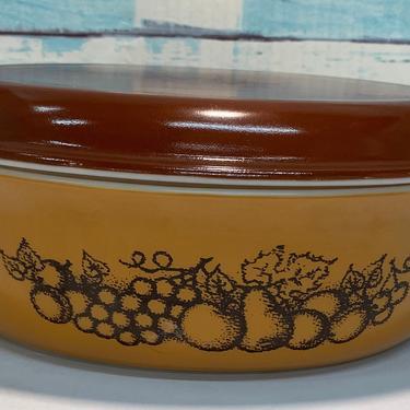 Pyrex Old Orchard Casserole Dish #045 W/ lid by JoyfulHeartReclaimed
