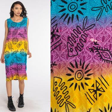 Tie Dye Dress 90s Tropical Fish Dress Grunge Hippie Midi Summer Sun Blue Purple 1990s Tent Bohemian Vintage Sundress Boho medium by ShopExile