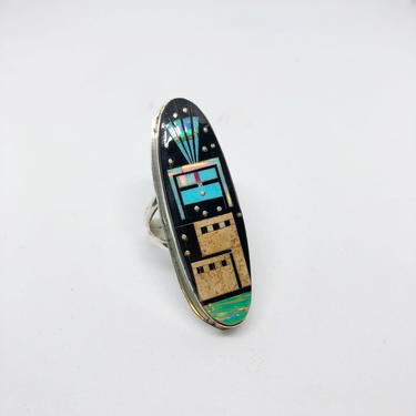 PUEBLO NIGHT SKY Gilbert Smith G Inlay Ring   Native American Navajo Southwestern   Silver, Turquoise, Coral, Jet Jasper Opal, Size 7.5 by lovestreetsf