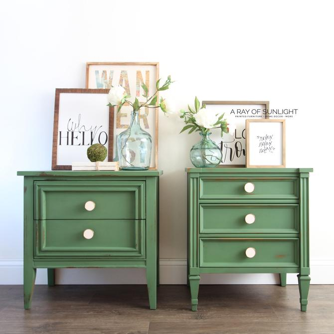 Emerald Green Pair of Nightstands - Mismatched Nightstands - Farmhouse Decor -Mid Century Modern - Painted Furniture - Vintage Furniture by ARayofSunlight