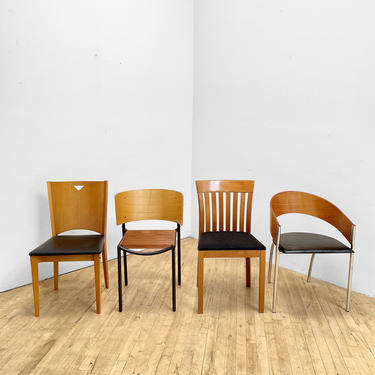 Postmodern Dining Chairs 4 Four Maple 90s Andreu World Spaghetti Chair Chrome by 330Modern