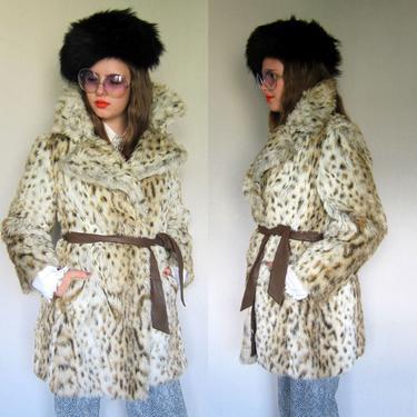 1970s Coat / 70s Faux Fur Wrap Coat Jacket / Animal Print Leopard Fur Boho Coat Sportowne St. Moritz / Medium by RareJuleVintage