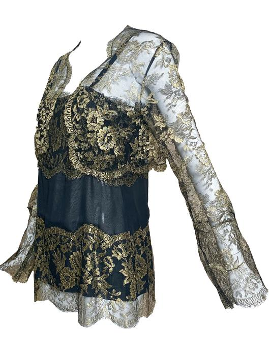 80s Gold Lame Lace Evening Blouse with Matching Cropped Jacket
