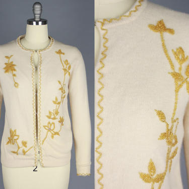 1950s Cream Cardigan with GOLDEN Beading | Vintage 50s 60s Beaded Sweater | medium by RelicVintageSF