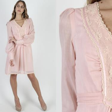Pink Tuxedo Ruffle Mini Dress / Large Poet Sleeves / Vintage 70s Ivory Floral Lace / Prairie Style Plain Lawn Bridal Ceremony Mini Dress by americanarchive