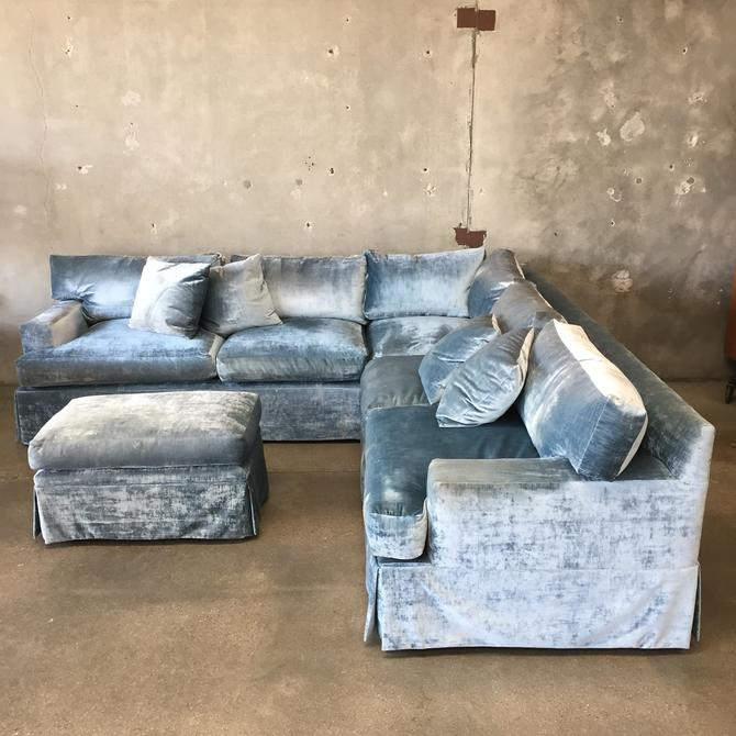Custom One Piece L Shape Sofa & Ottoman in Blue Velvet Upholstery
