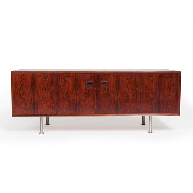 Danish Mid-Century Low Profile Rosewood Media /Storage Cabinet by MCMSanFrancisco