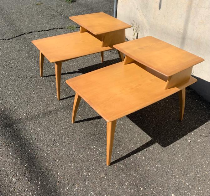 Pair Heywood Wakefield stepped end tables by QuaboagValleyAntique