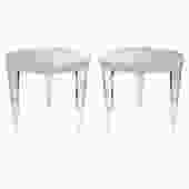 Pair of Sculptural Round End Tables in Solid Lucite 1990s