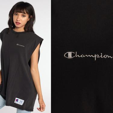 Black CHAMPION Shirt -- Muscle Tee Distressed Tank Top Tee 90s Shirt Streetwear Top 1990s Sports Athletic Extra Large xxl 2xl by ShopExile
