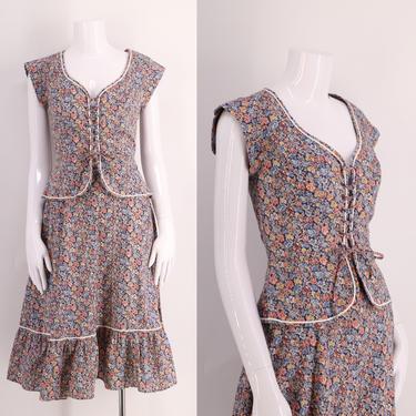 70s lace up peasant dress sz M / vintage 1970s floral print two piece cotton set outfit skirt corset top size 6 by ritualvintage