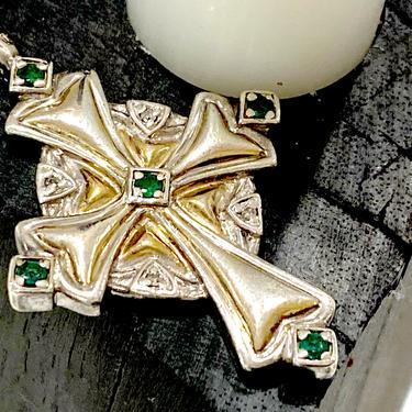 Sterling Silver Diamond Emerald 24k Gold Plated Vintage Irish Blessing Cross Pendant by DressingVintage