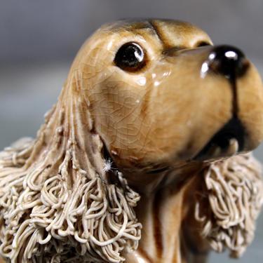 English Cocker Spaniel Figurine with Spaghetti Porcelain Ears - Vintage Cocker Spaniel - Fluffy Eared Dog - Dog Lover   FREE SHIPPING by Trovetorium