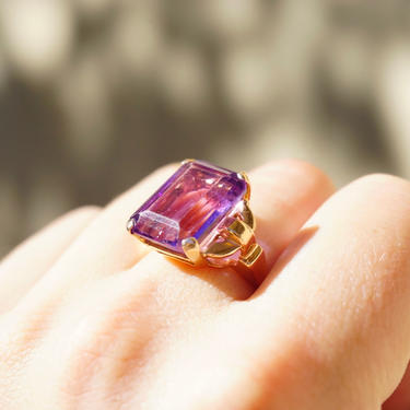 Vintage 14K Rose Gold Amethyst Ring, Large Square Purple Gemstone Ring With Rose Gold Band, Beautiful Rose Gold Cocktail Ring by shopGoodsVintage