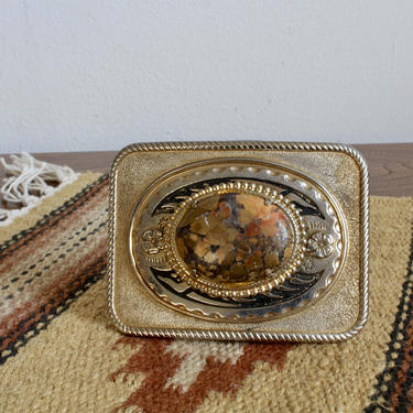 Rustic Western , Southwestern Silver and Stone Belt Buckle, Cowboy Cowgirl, Glam, Boho, Bohemian, Mexican, South American by FORAGEmodernhome