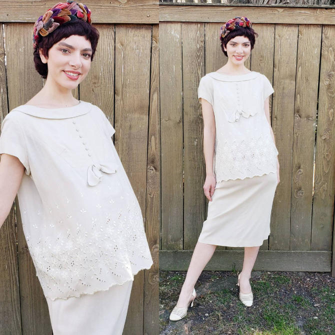 1960s Maternity Skirt & Tunic Outfit Suit / 50s Beige Embroidered Summer Maternity Top Matching Midi Skirt Helene Scott / M by RareJuleVintage