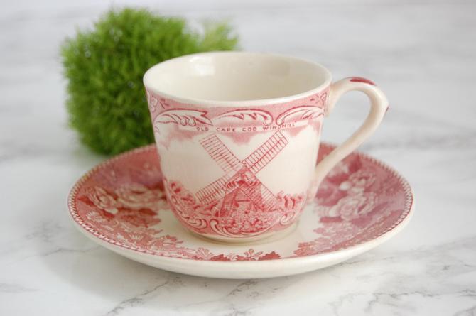 Vintage Old English Staffordshire Tea Cup - JonRoth England Tea Cup - Pink Red Tea Cup by PursuingVintage1