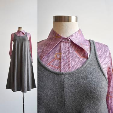Vintage 1970s Gray Wool Jumper Dress by milkandice
