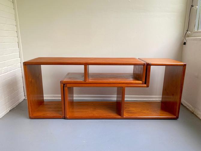 "Danish teak ""puzzle"" parallel L-shaped shelves by TheModernistUS"