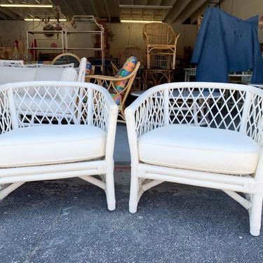 Pair of Ficks Reed Diamond Back Lounge Chairs