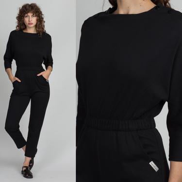80s Black Button Shoulder Jumpsuit - Medium | Vintage St Germain Tapered Leg Pocket Pantsuit by FlyingAppleVintage