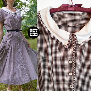 GORGEOUS Vintage 50s Brown White Gingham Plaid Drop Waist Fit & Flare Cotton Day Dress with White Collar by RETMOD