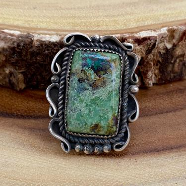 GREEN MACHINE Sterling Silver and Turquoise Ring   Green Turquoise   JB Platero   Navajo Native American Ring   Southwestern   Size 8 by lovestreetsf