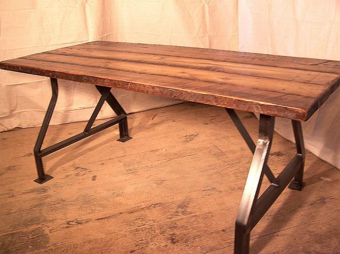 Factory Work Table with Industrial Metal Base and Reclaimed Wood Plank Top by BarnWoodFurniture