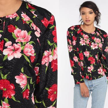 Black Floral Shirt 90s Button Up Shirt Floral Blouse Long Sleeve Top Pink Red Boho 1990s Vintage Liz Claiborne Large L by ShopExile