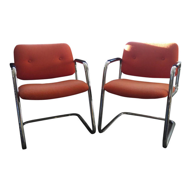 Mid Century Modern Orange Chrome Chairs with Cantilevered Base and Upholstered Seats and Back by 3GirlsAntiques