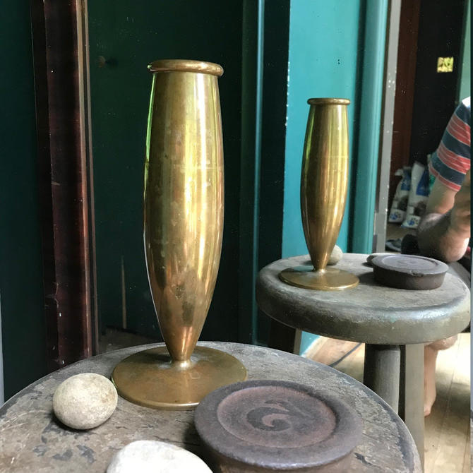 Vintage Mid-Century Bronze or Brass Turned Flower Vase Urn Addams Family Antique Hearth by BrainWashington