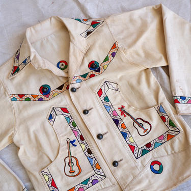 Vintage 40s Embroidered Souvenir Jacket/ 1940s Hand Embroidered Aztec Mexican Coat/ Guitars Figural Folk Art/ Size Large by bottleofbread