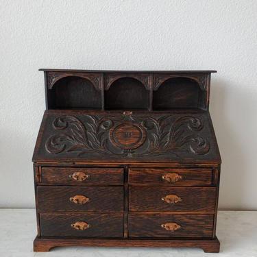 Antique English Miniature Oak Slat Front Bureau Salesman Sample Drop-Front Secretary Desk Chest Of Drawers by LynxHollowAntiques