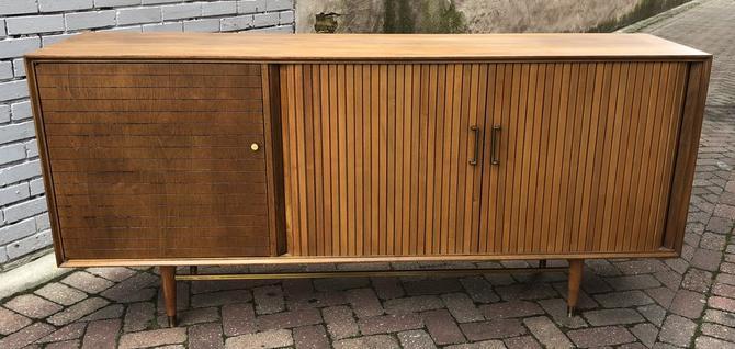 Walnut Credenza with Tambour Doors