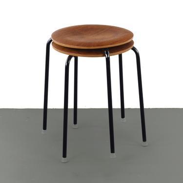 """Set of Two Original Danish Modern """"Dot"""" Stools Designed by Arne Jacobsen for Fritz Hansen by ABTModern"""