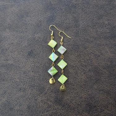 Mother of pearl earrings, long shell earrings, bohemian earrings, bold earrings, mid century modern, green tribal statement earrings, gold by Afrocasian