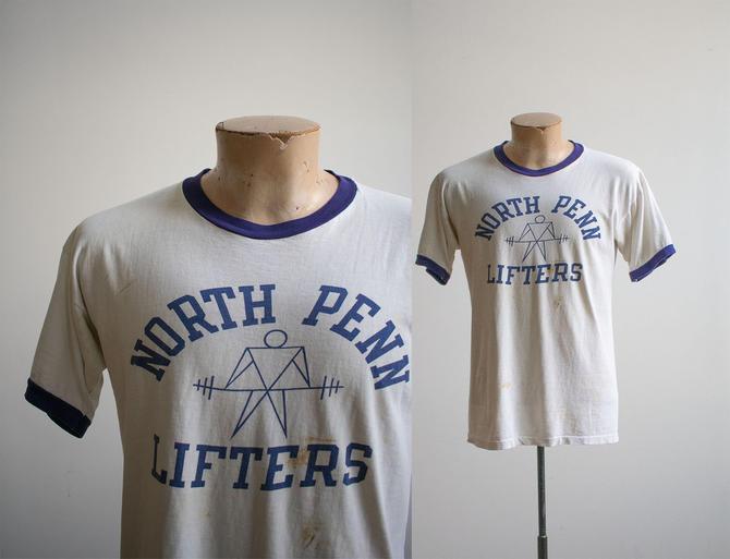 Vintage 1960s 1970s Tshirt / Vintage North Penn Lifters Tee / Vintage Ringer Tshirt / Vintage 1960s Champion Tee / 1970s Champion Tshirt by milkandice