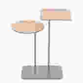 contemporary tiny table w walnut top