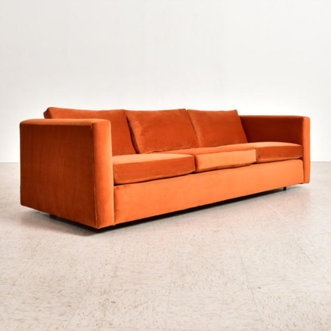 Orange Velvet 1970's Boxy Sofa