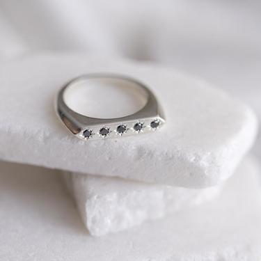 Sterling Silver and Black Diamonds Constellation Ring