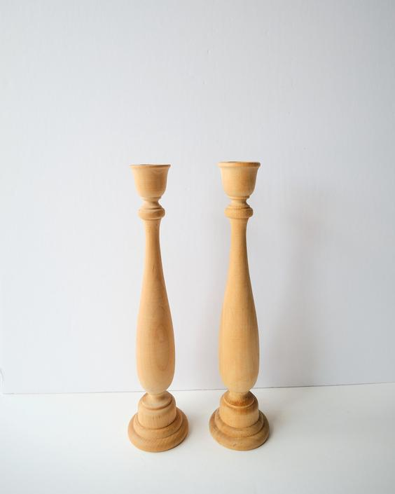 Set of Two Raw Wood Taper Candlestick Holders / Wooden Candle Holder by ShopLantanaLane