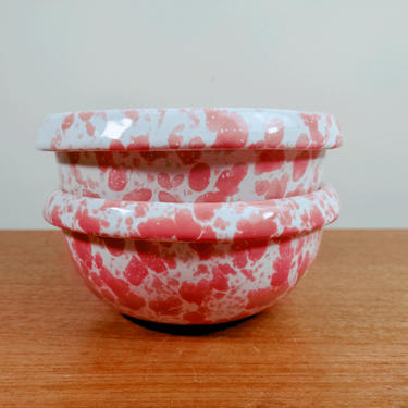 Vintage Bennington Potters | 1915c Rolled Rim Cereal Soup Bowl(s) | David Gil dg | Morning Glory Spatter Pink Agate | Vermont by TheFeatheredCurator