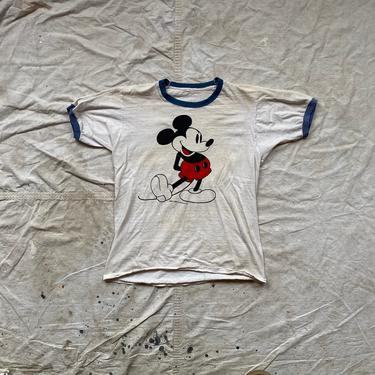 Vintage 1970s Mickey Mouse Walt Disney Prod. Ringer T Shirt by NorthGroveAntiques