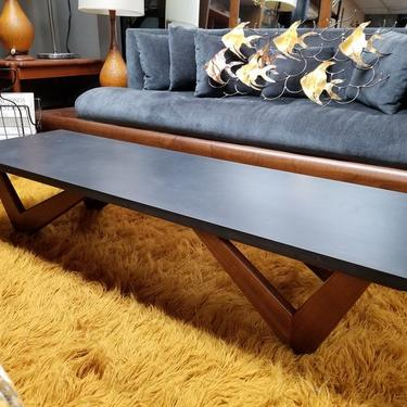 Mid-Century Modern Pearsall style slate top coffee table