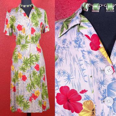 1970s does 40s Hawaiian Print Shirtwaist Dress by THEGIRLCANTHELPITUSA