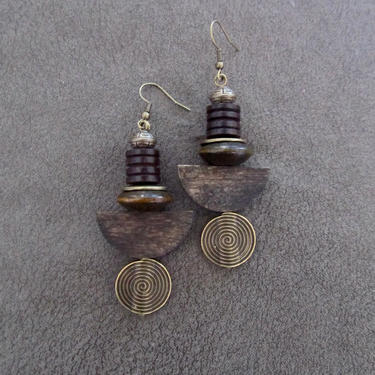 Carved wooden earrings, bold statement earrings, geometric earrings, rustic natural earrings, ethnic tribal earrings, primitive exotic by Afrocasian