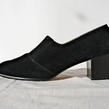 Vintage 90s Salvatore Ferragamo Black Suede Leather Block Heel Shoes w/ Elastic Vamp   Made in Italy   Size 9.5   1990s Designer Suede Pumps by TheVault1969