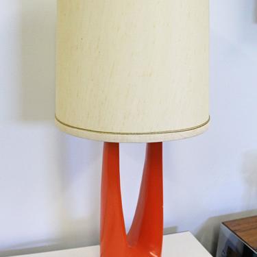 Mid-Century Modern Atomic Orange Metal Round Table Lamp by AnnexMarketplace