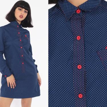 Button Up Dress 70s Shirtdress Mini Polka Dot Dress Blue Red Secretary Shift Long Sleeve 80s Vintage Preppy Shift Small by ShopExile