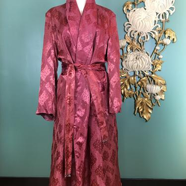 1940s smoking jacket, lounge coat, mens robe, burgundy satin, dressing gown, old Hollywood, film noir style, 42 chest, large, house coat by BlackLabelVintageWA